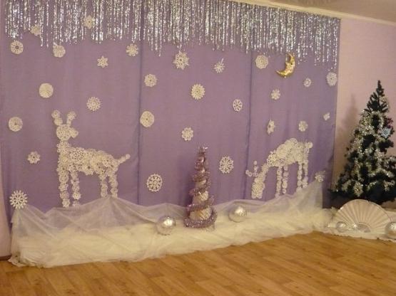 Фото оформления зала детского сада к новому году