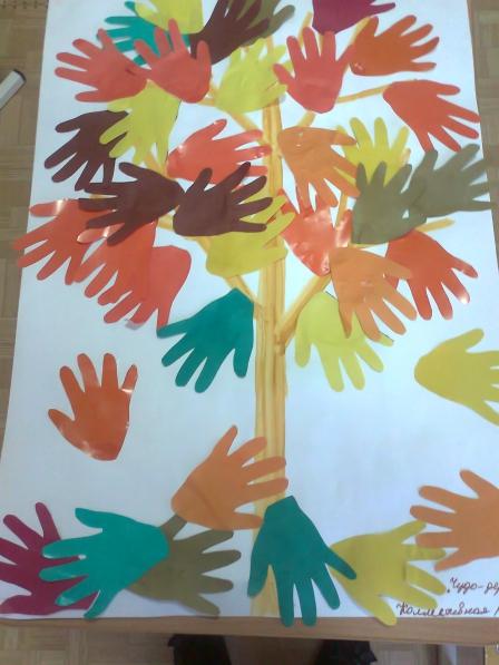 Дерево из ладошек своими руками 71