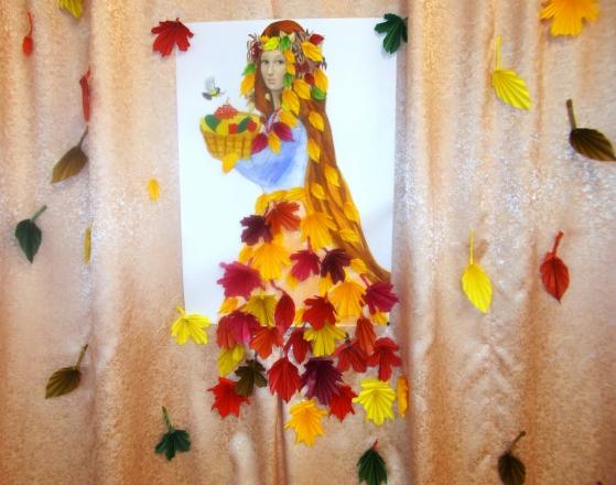 Оформление зала к Осенним праздникам. Совместная работа взрослых и детей «Красавица Осень»