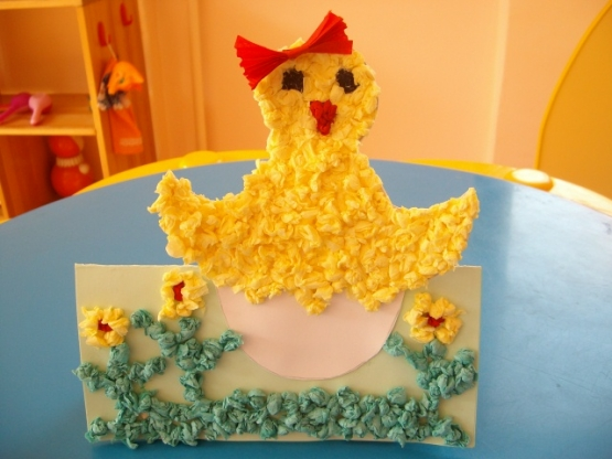 Цыпленок из салфеток поделки шаблонв