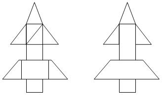 Схема ракеты из геометрических фигур для детей