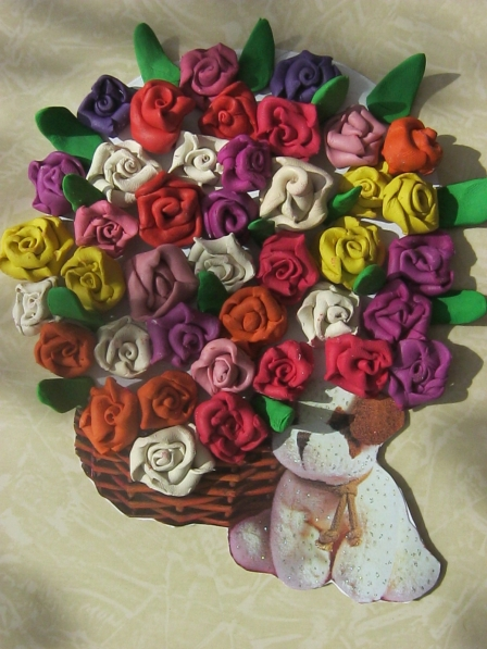 Поделка букет цветов из пластилина 48
