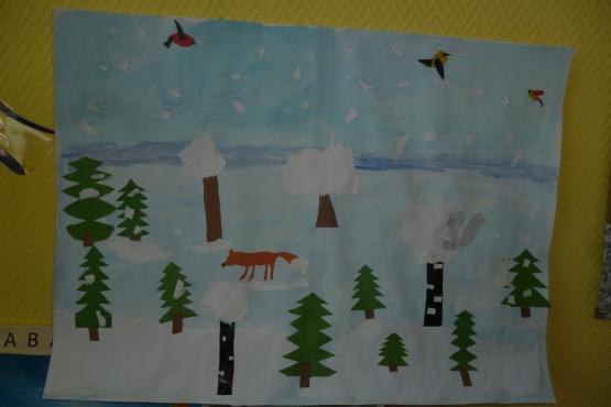 Изо в подготовительной группе зимний лес