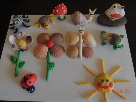 Поделки их ракушек в детский сад