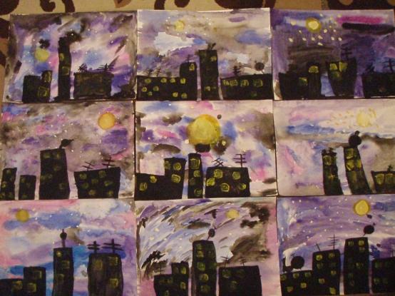 «Ночной город»— рисование акварельными и гуашевыми красками в старшей группе