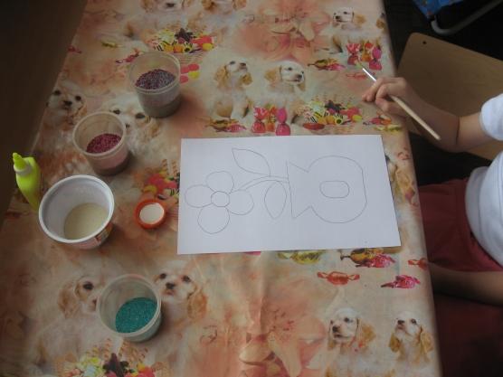 Цветок в вазе. поделки к 8 марта. поделки из круп. детские поделки.  3