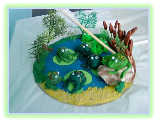 Конспект занятия по лепке в подготовительной группе для детей с нарушением зрения «Лягушата в пруду»