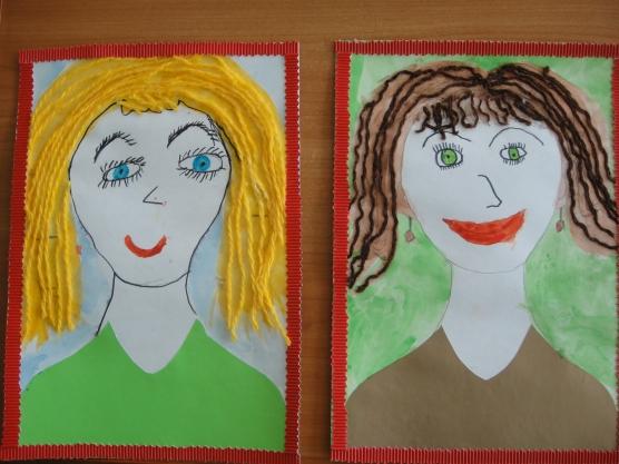 Детские рисунки мама портрет в детском саду