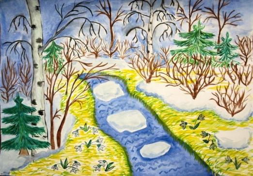 Рисунок к стиху весна весна как воздух чист