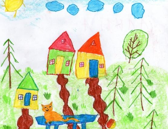 Детские рисунки к дню кошек для