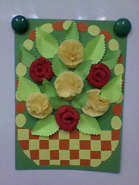 Аппликация « Аппликации из цветной бумаги корзина с цветами