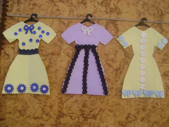 Занятие в средней группе аппликация платье