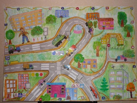 Рисунок плана дороги в садик