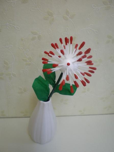 Цветок из ватных палочек своими руками 152