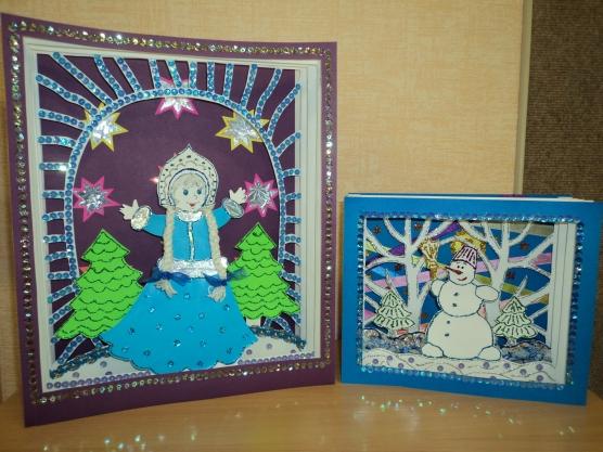 Мастер-класс: Трёхмерная новогодняя открытка— «Весёлый Снеговик» и «Снегурочка».