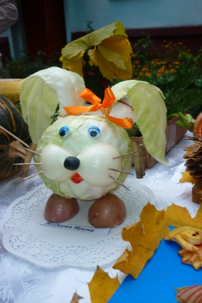Поделки из овощей и фруктов на выставку на тему осень детский сад