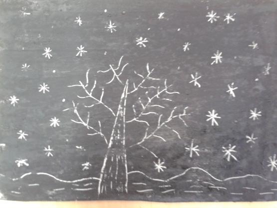рисование в средней группе зима