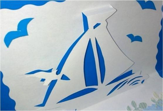 Объемная открытка кораблик распечатать