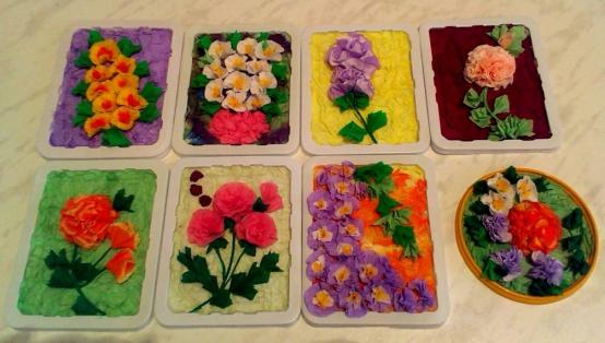 Картины из цветов из салфеток