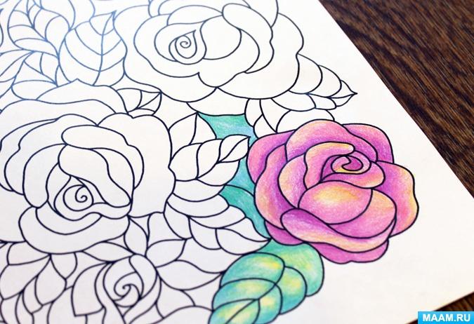 Раскраска-антистресс. Розы — скачать и распечатать ...