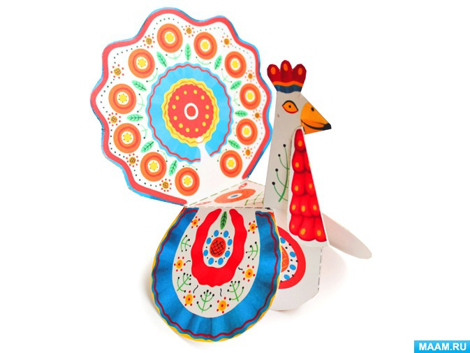 Дымковская игрушка из бумаги. Шаблон - раскраска — скачать ...