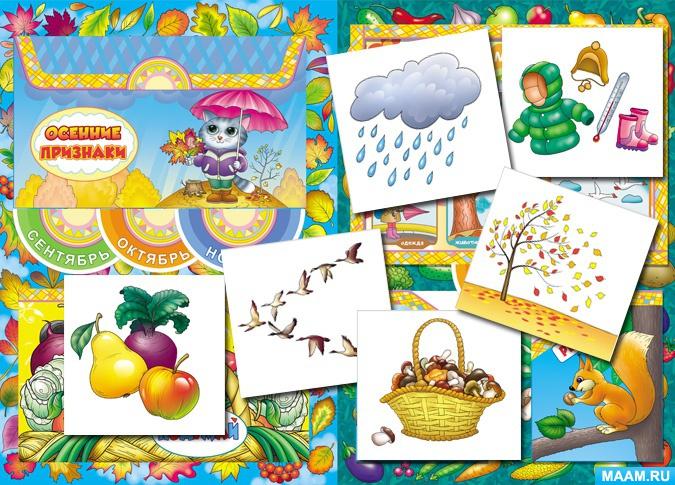 Карточки с осенними признаками