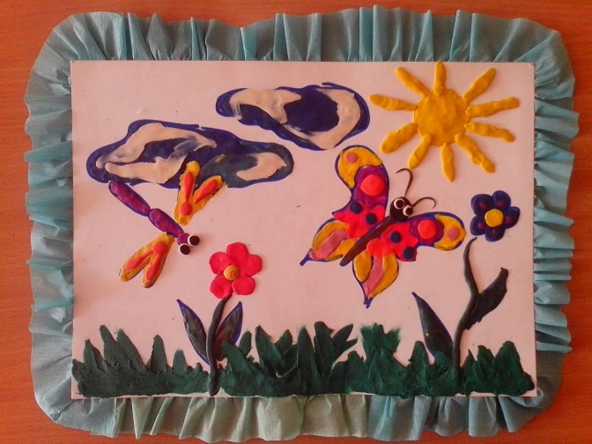 Мастер-класс. Налеп «Бабочки и стрекозы порхают над лугом»