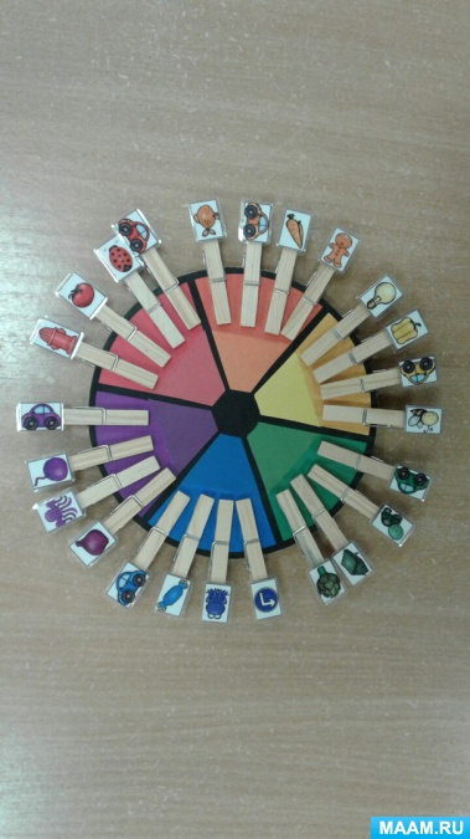 Дидактическая игра с прищепками «Подбери по цвету»
