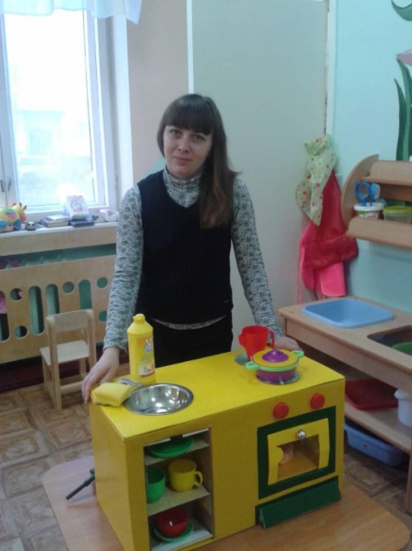 Детская кухня своими руками из картона фото