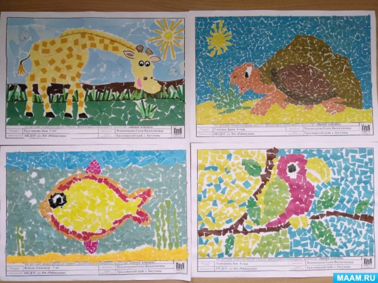 Фотоотчет творчества детей средней группы совместно с родителями. Аппликация в технике рваной бумаги и мозаичная аппликация