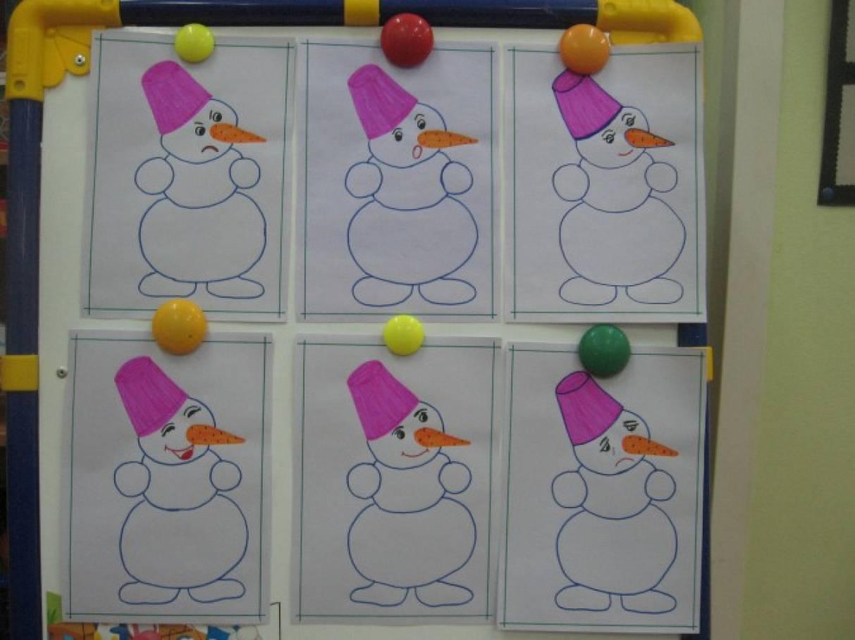 Конспект занятий во второй младшей группе по рисованию снеговика