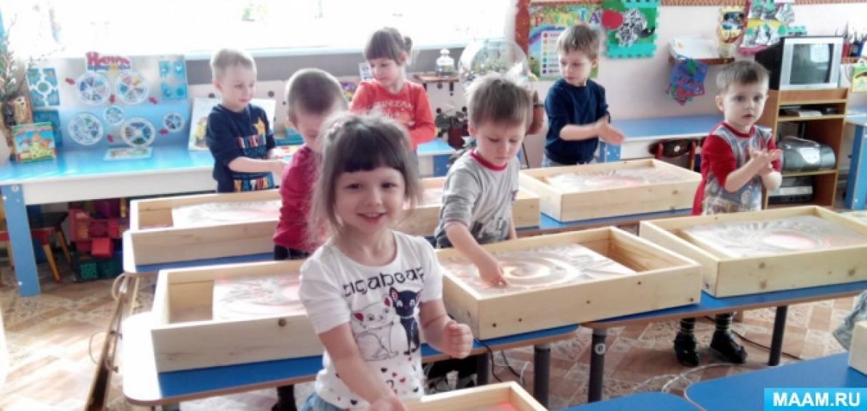 Конспект НОД по нетрадиционному рисованию на световом столе для детей 3–4 лет Тема: «Светит солнышко в окошко»