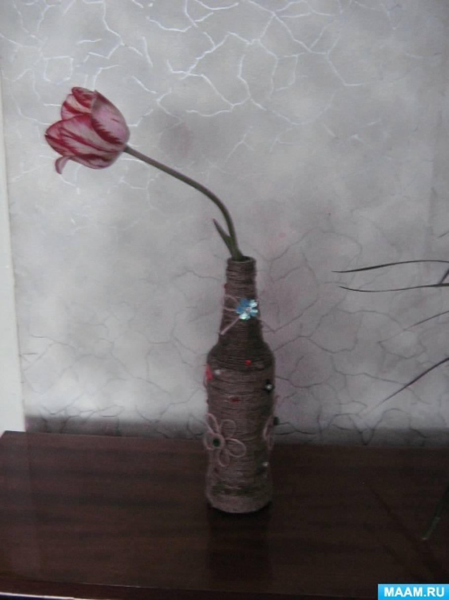 Мастер-класс по декорированию бутылки шпагатом