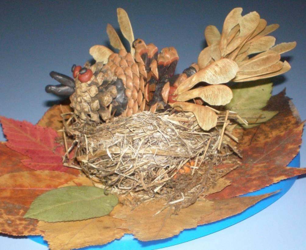 Гнездо из природных материалов