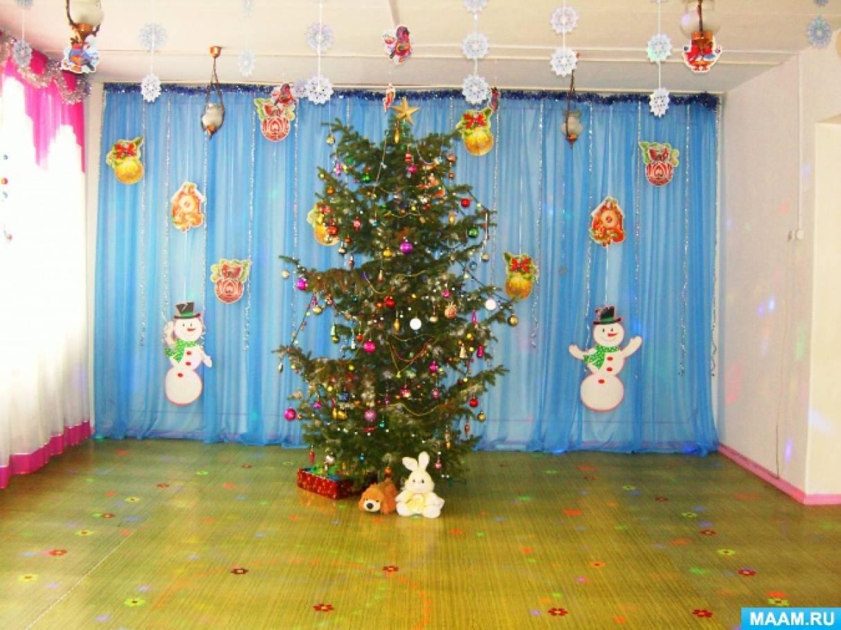 Новогоднее оформление музыкального зала «Ёлочка-красавица в гости к нам пришла»