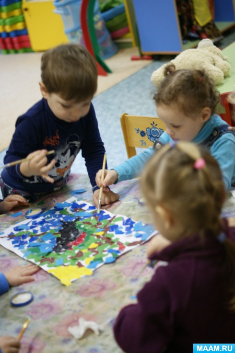 Аппликация с детьми раннего возраста «Снегирёк». Создание коллективной композиции. Рванная аппликация. Фотоотчёт
