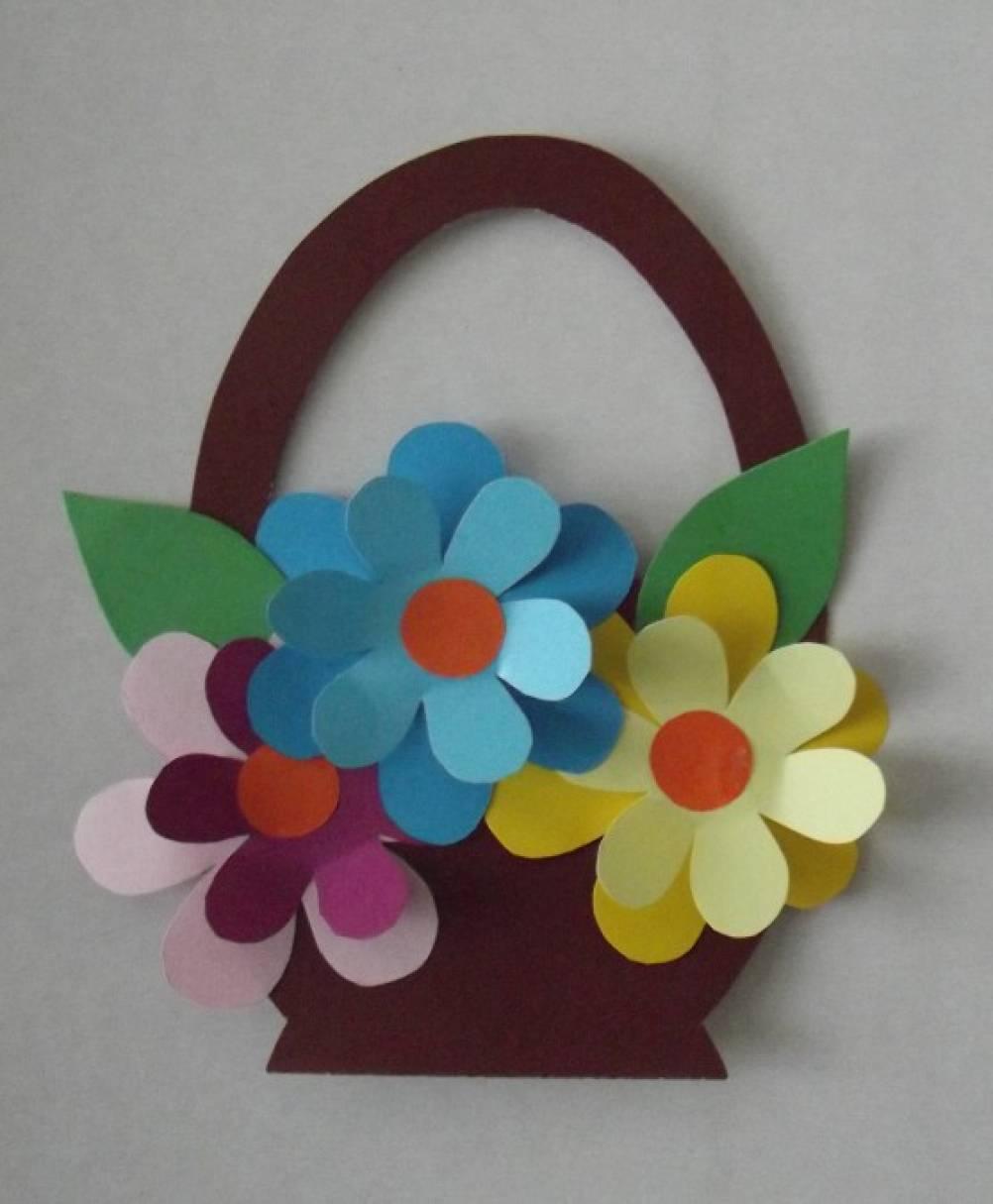 Пожеланием удачного, открытка корзинка с цветами из бумаги