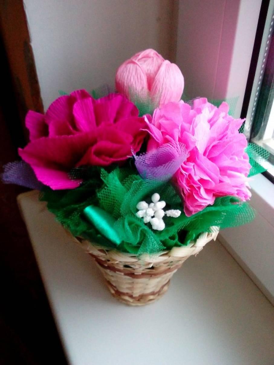 Корзина с цветами из бумаги своими руками мастер класс 48