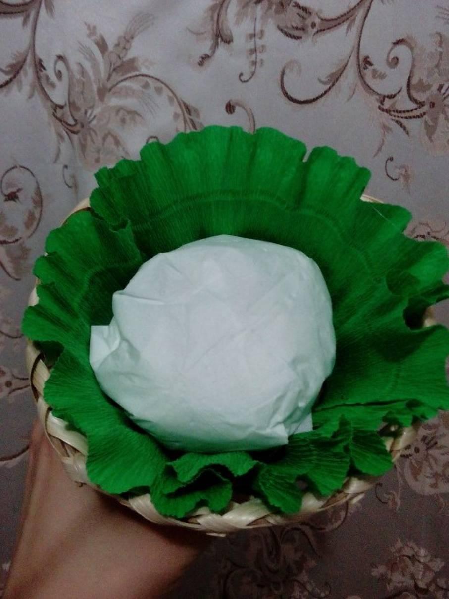 Корзинка для цветов из гофрированной бумаги своими руками 695
