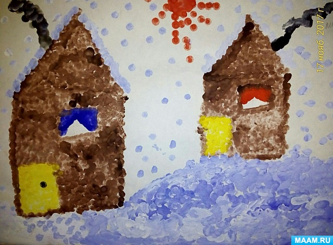Фотоотчет о зимних рисунках выполненных в нетрадиционных техниках с детьми