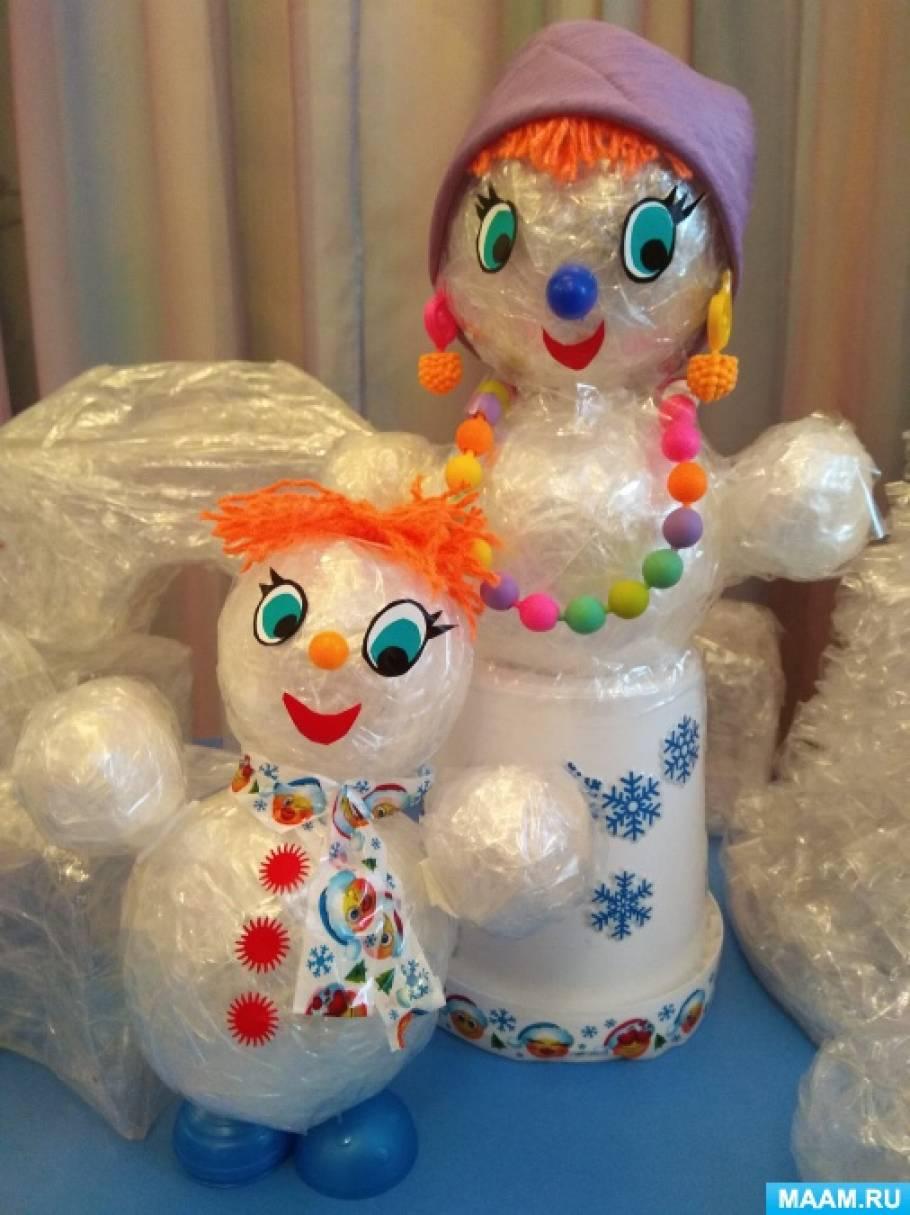 Поделки из скотча «Мама, папа, я— снежная семья»