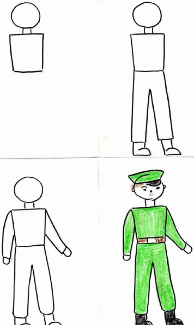 Как нарисовать поэтапно нарисовать солдата