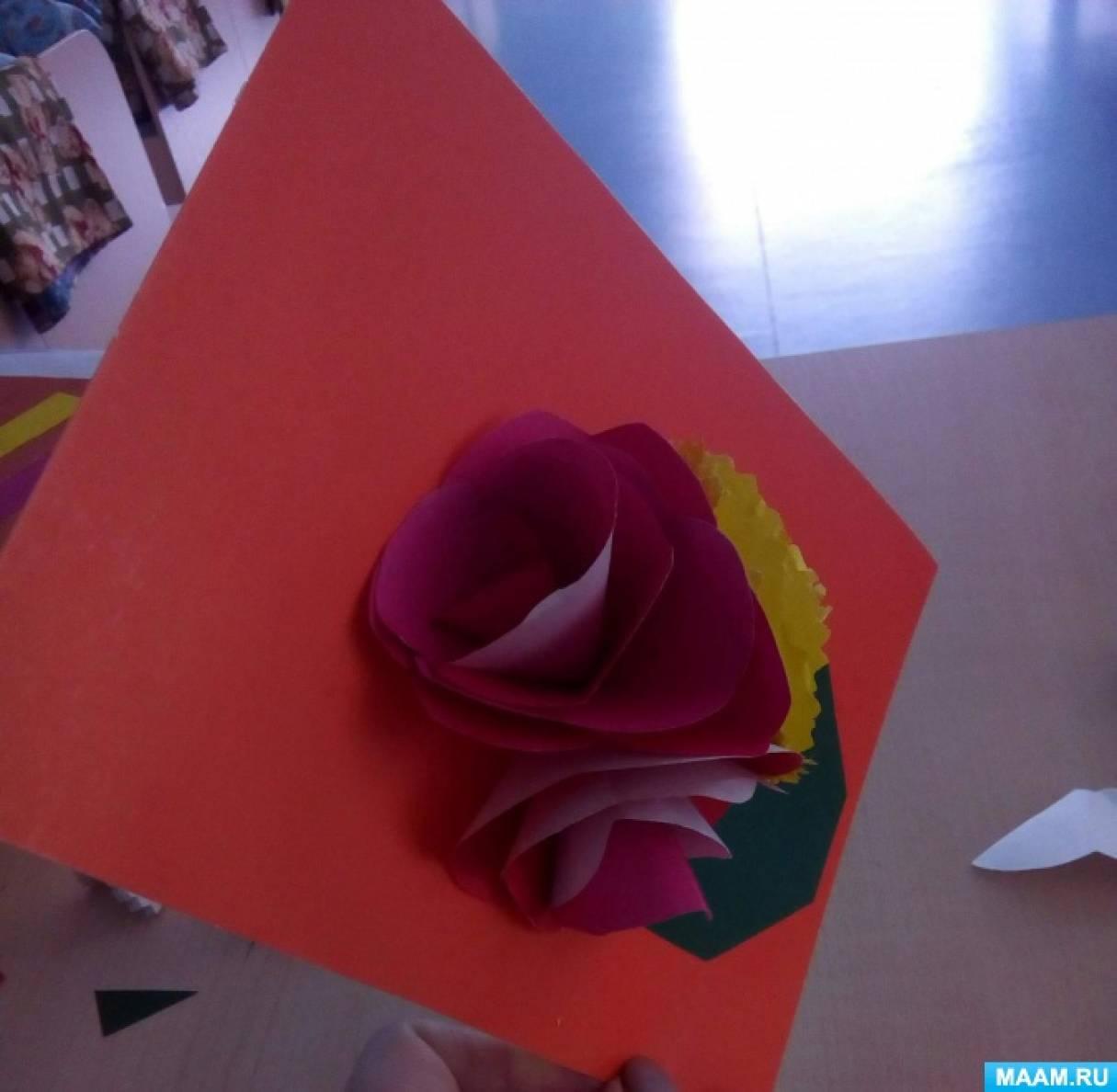 Мастер-класс открытки «Букет роз любимой маме»