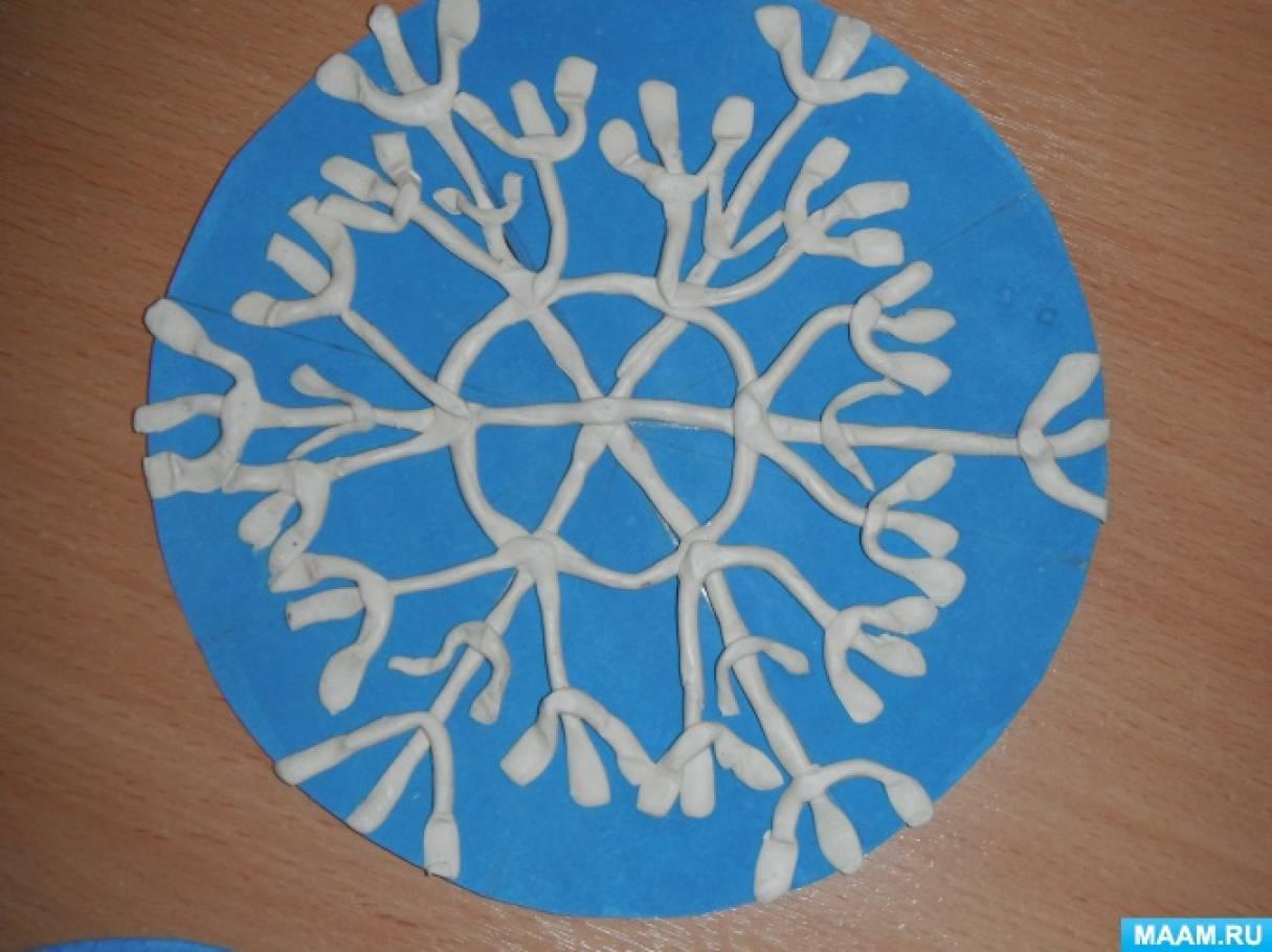 «Сказочная снежинка»— рисование в технике пластилинография. Средняя группа