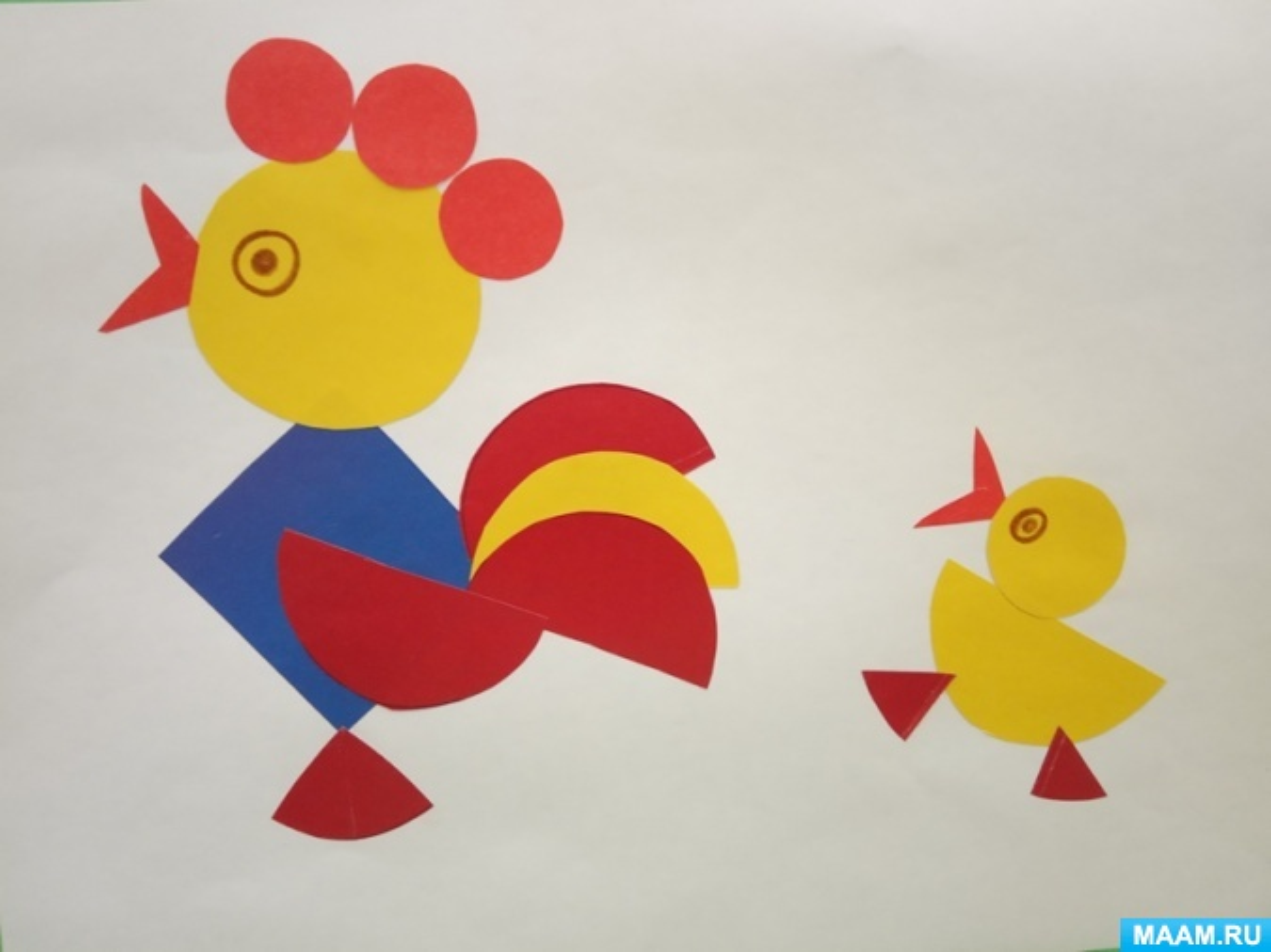 Занятие по аппликации из геометрических форм «Петушок и цыплёнок»