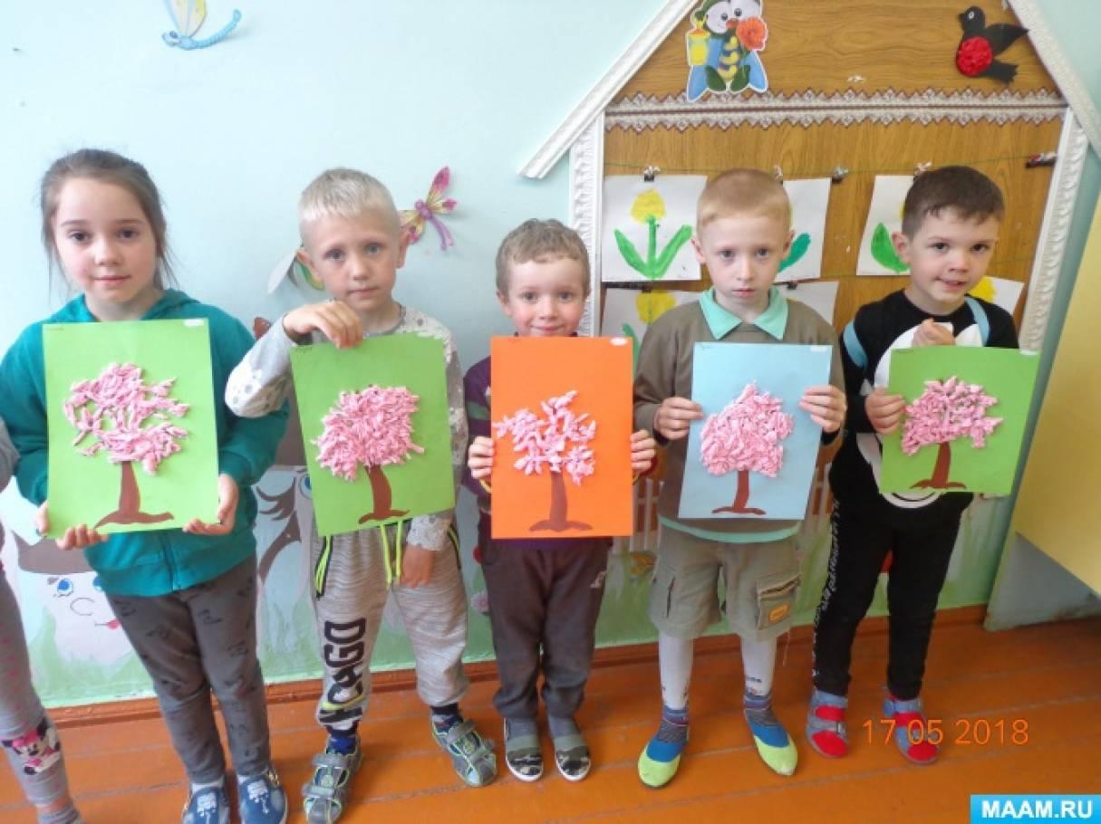 Аппликации из салфеток «Сакура», «Яблоня цветёт»
