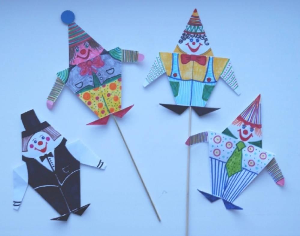 Клоун из цветной бумаги оригами