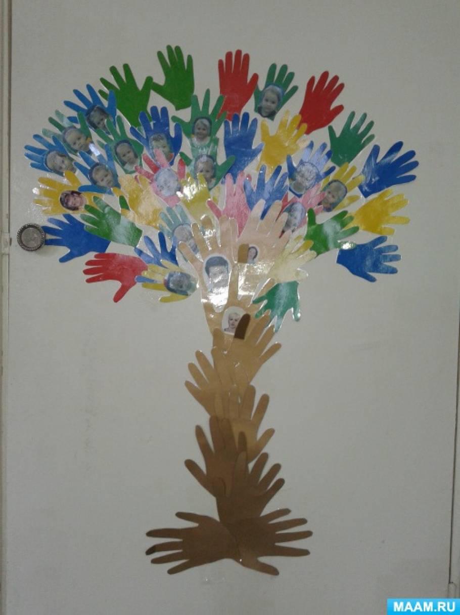Дерево из ладошек своими руками 43