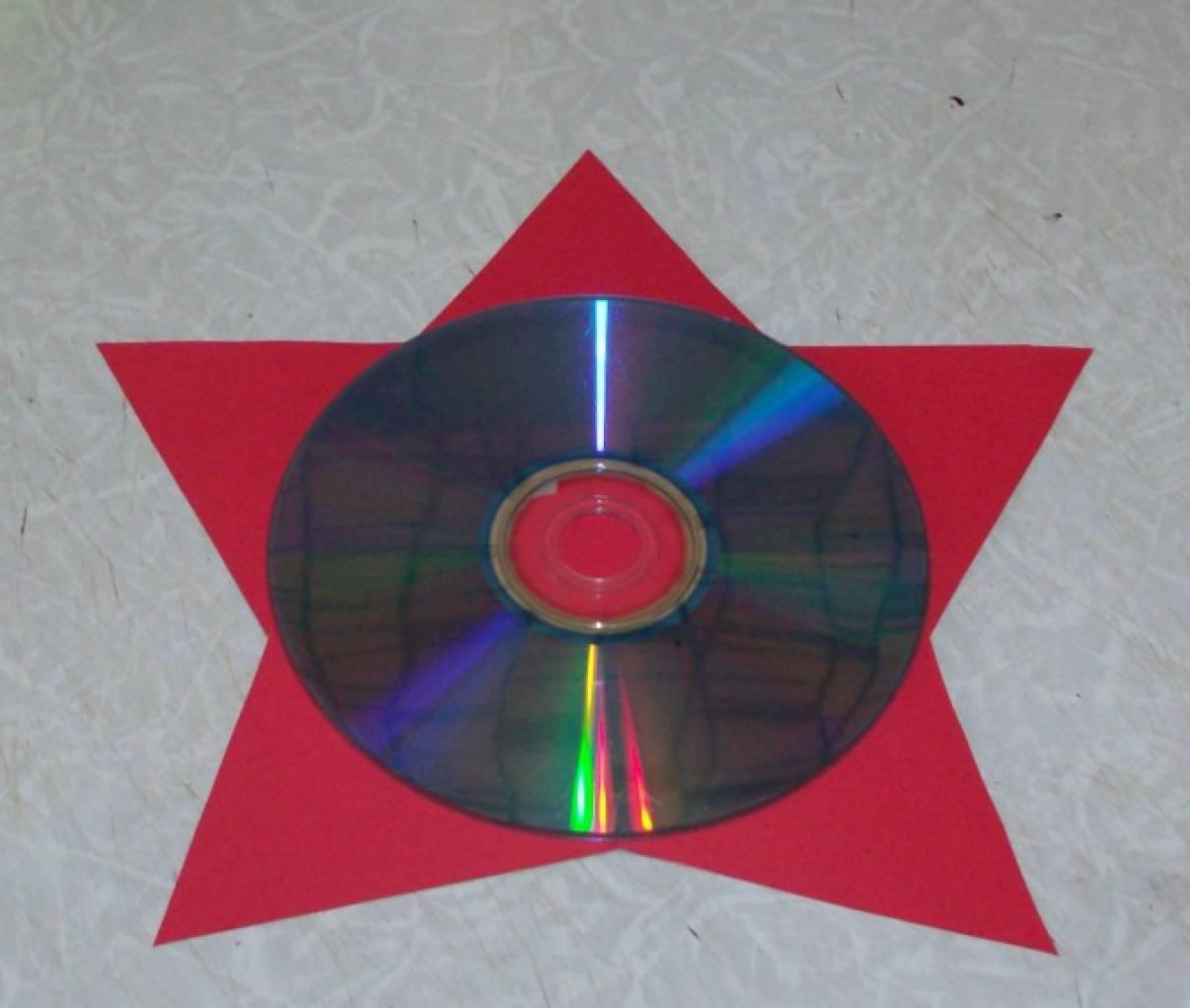 Открытка из диска к 23 февраля своими руками
