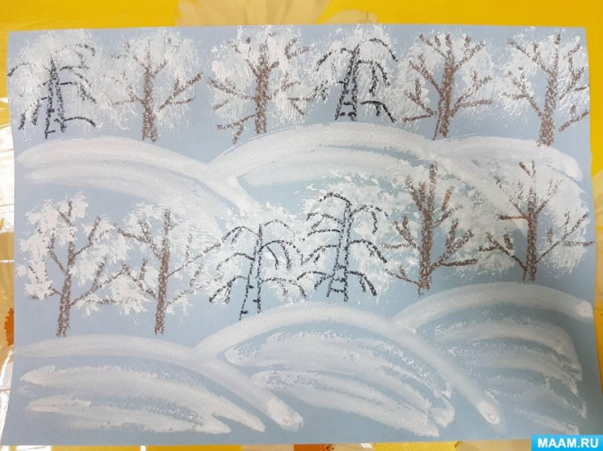 «Зимний лес» мастер-класс по рисованию с использованием техники «тычок полусухой жесткой кистью»